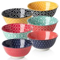DOWAN Dessert Bowls, 10 Ounce Small Porcelain Bowls for Snacks, Rice, Condiments, Side Dishes, Ice Cream, Set of 6, Colorful