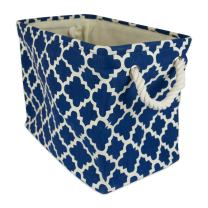 DII Collapsible Polyester Storage Basket or Bin with Durable Cotton Handles, Home Organizer Solution for Office, Bedroom, Closet, Toys, Laundry (Medium – 16x10x12), Navy Lattice