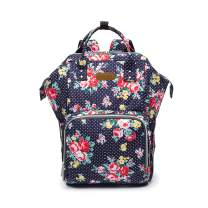 ROYALFAIR Diaper Bag Backpack Large Capacity Nappy bag for Baby Care for Mom with Insulated Pocket Changing Pad and Stroller Straps Flower pattern