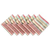 DII 100% Polyester, Spill Proof, Machine Washable, Outdoor Use 20x20 Napkin, Set of 6, Warm Summer Stripe