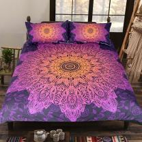 Sleepwish India Inspired Bedding 3 Piece Pink Floral Duvet Cover Teen Purple Bedding Boho Chic Woman Bed Spread (King)