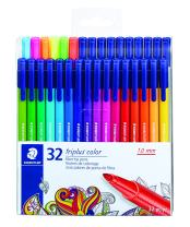 STAEDTLER fiber-tip pens, triplus color, 1mm pressure-resistant tip, washable ink, triangular barrel,  set of 32 vibrant colors, assorted, 323 TB32LU