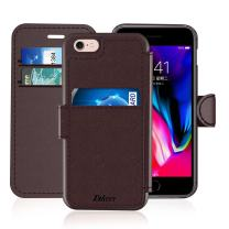 iPhone 6/6S Leather Wallet Case with Cards Slot and Metal Magnetic, Slim Fit and Heavy Duty, TAKEN Plastic Flip Case/Cover with Rubber Edge, Gift for Women, Men, Boys, Girls, 4.7 Inch (Coffee)