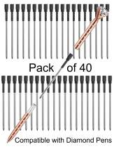 """Pen Refills Replacement Ballpoint 3.2'' inch (can be cut into 2.75"""") for Pens with Big Diamond Crystal on Top Diamond Crystal Stylus Pens Metal Refill in Storage Case Medium Pack of 40 (Black)"""