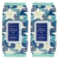 Body Prescriptions Vanilla and Coconut Oil Face Wipes & Makeup Remover Wipes - 2 Pack (60 Count Each) of Gentle Facial Cleansing Wipes – Flip Top Pack