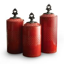 """American Atelier Set of 3 ceramic Canisters-Red,13.5x4.5x12.4"""" , Red"""