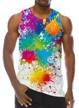 Loveternal Mens 3D Print Tank Top Summer Casual Novelty Polyester Gym Workout Bodybuilding Tank Tops