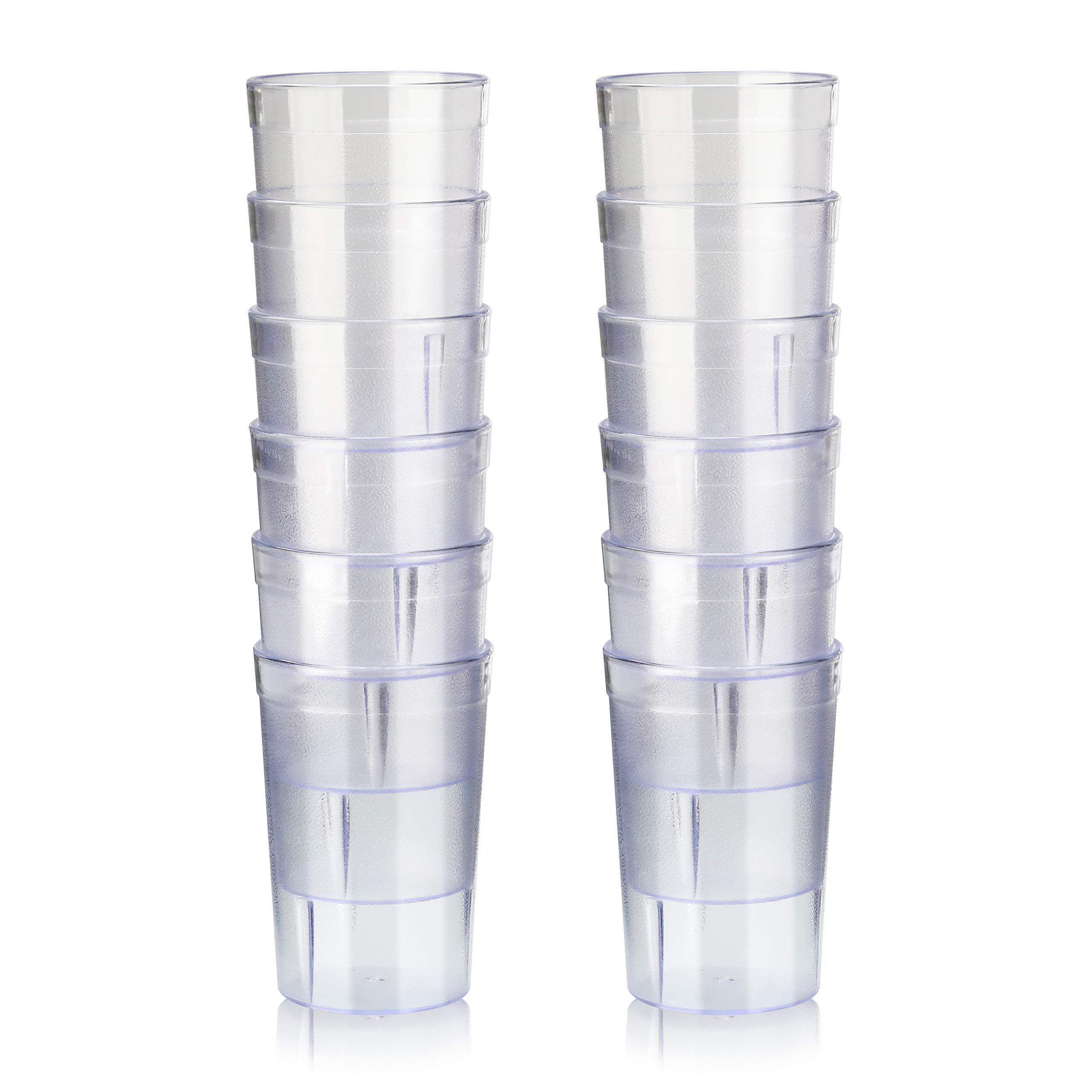 New Star Foodservice 46649 Tumbler Beverage Cup Stackable Cups Break Resistant Commercial San Plastic 8 Oz Clear Set Of 12