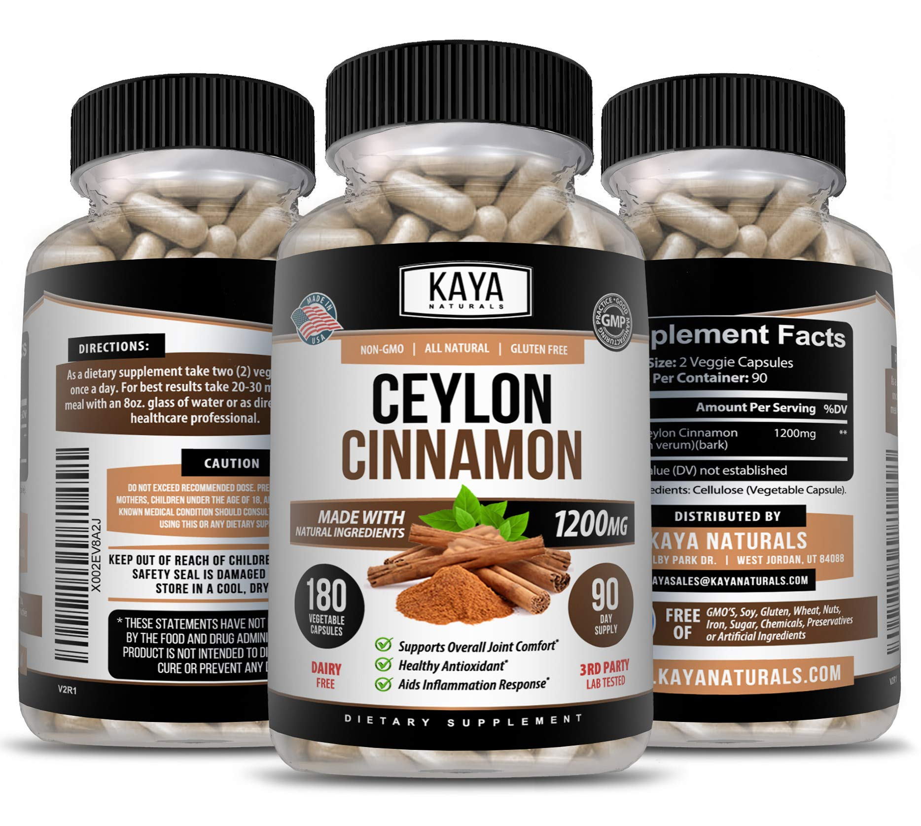 Kaya Naturals Organic Ceylon Cinnamon 1200mg per Serving, 180 Count Capsules for Healthy Blood Sugar Support, Joint Support, Anti-inflammatory & Antioxidant (180 Capsules)