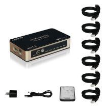 Portta HDMI Premium Switch/Switcher Premiunm 5 Port 5x1 v1.4 with IR Remote 6pcs Cable for 3D 4k x 2k