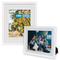 Beyond Your Thoughts Wood + Real Glass (Hang/Stand) 11X14 White Picture Photo Frame with Matted for 8X10 or 9x12 Photo for Wall and Table Top-Mounting Hardware Included(2 Pack)