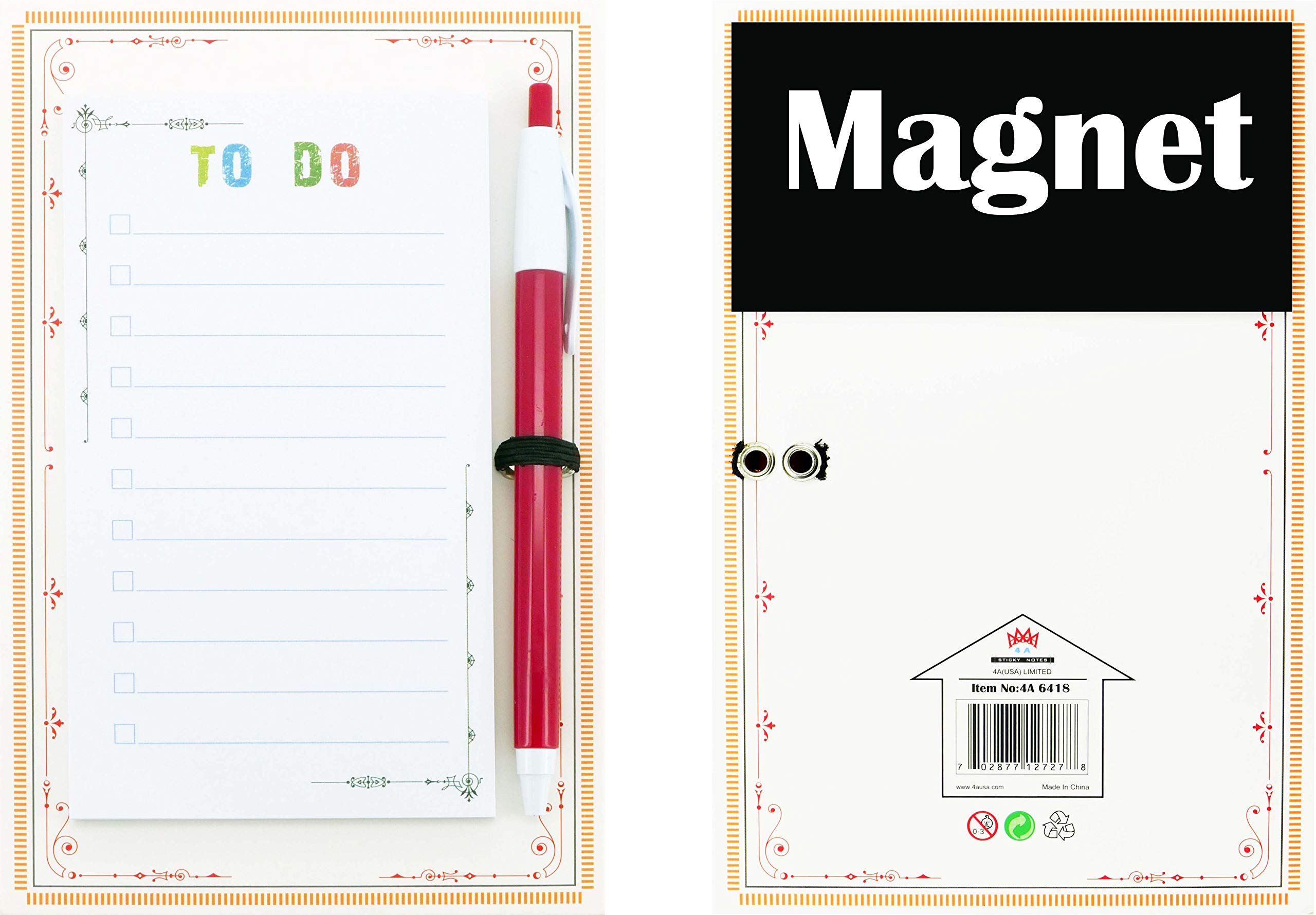 """4A Magnet Sticky Notes with Pen Set,""""to DO"""",Lined, Magnet+Pen+Hardboard,Self-Stick Notes,5.5 x 3 Inches,50 Sheets/Pad,1 Pad/Pack,4A 6418"""