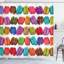 """Ambesonne Colorful Shower Curtain, French Macarons in a Row Coffee Shop Cookies Flavours Pastry Bakery Food Design, Cloth Fabric Bathroom Decor Set with Hooks, 70"""" Long, Multicolor White"""