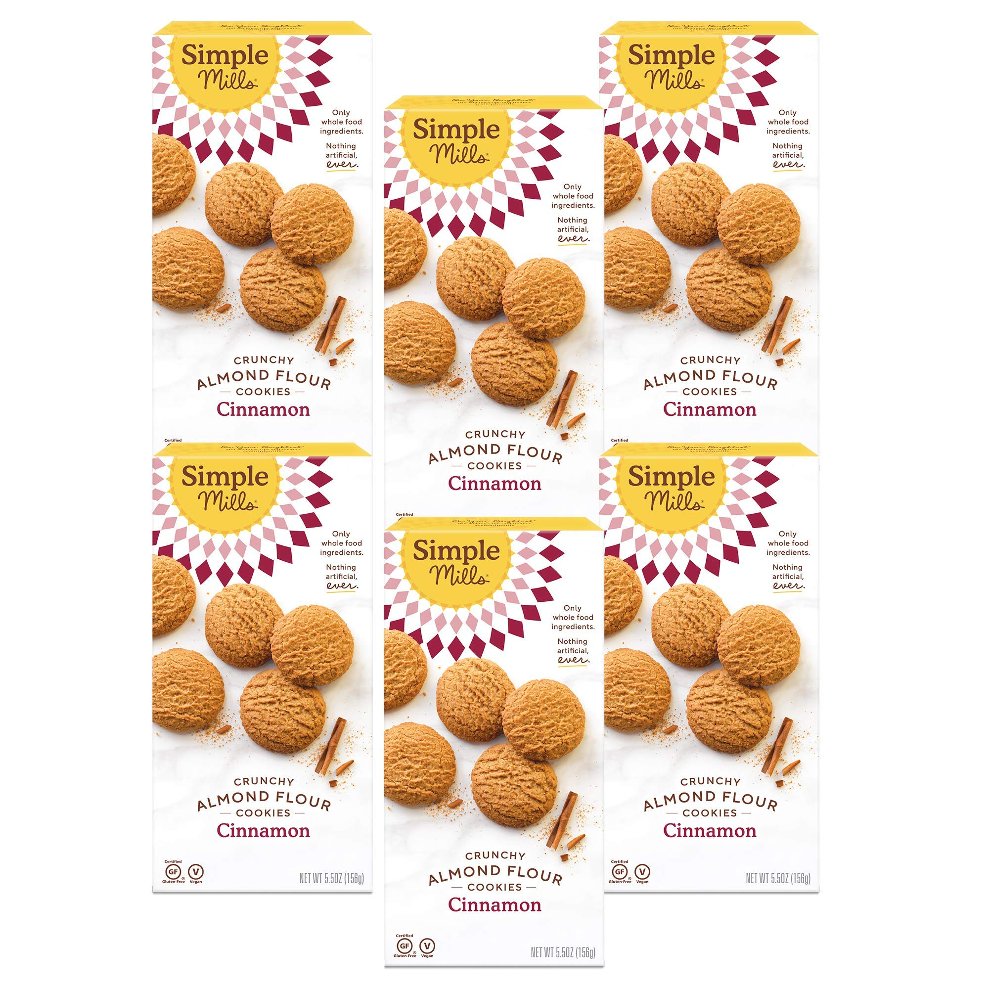 Simple Mills Almond Flour Cinnamon Cookies, Gluten Free and Delicious Crunchy Cookies, Organic Coconut Oil, Better for you Snacks, Made with whole foods, 6 Count, (Packaging May Vary)