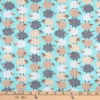 Benartex Dreams Sweet Stacked Sheep Aqua Fabric
