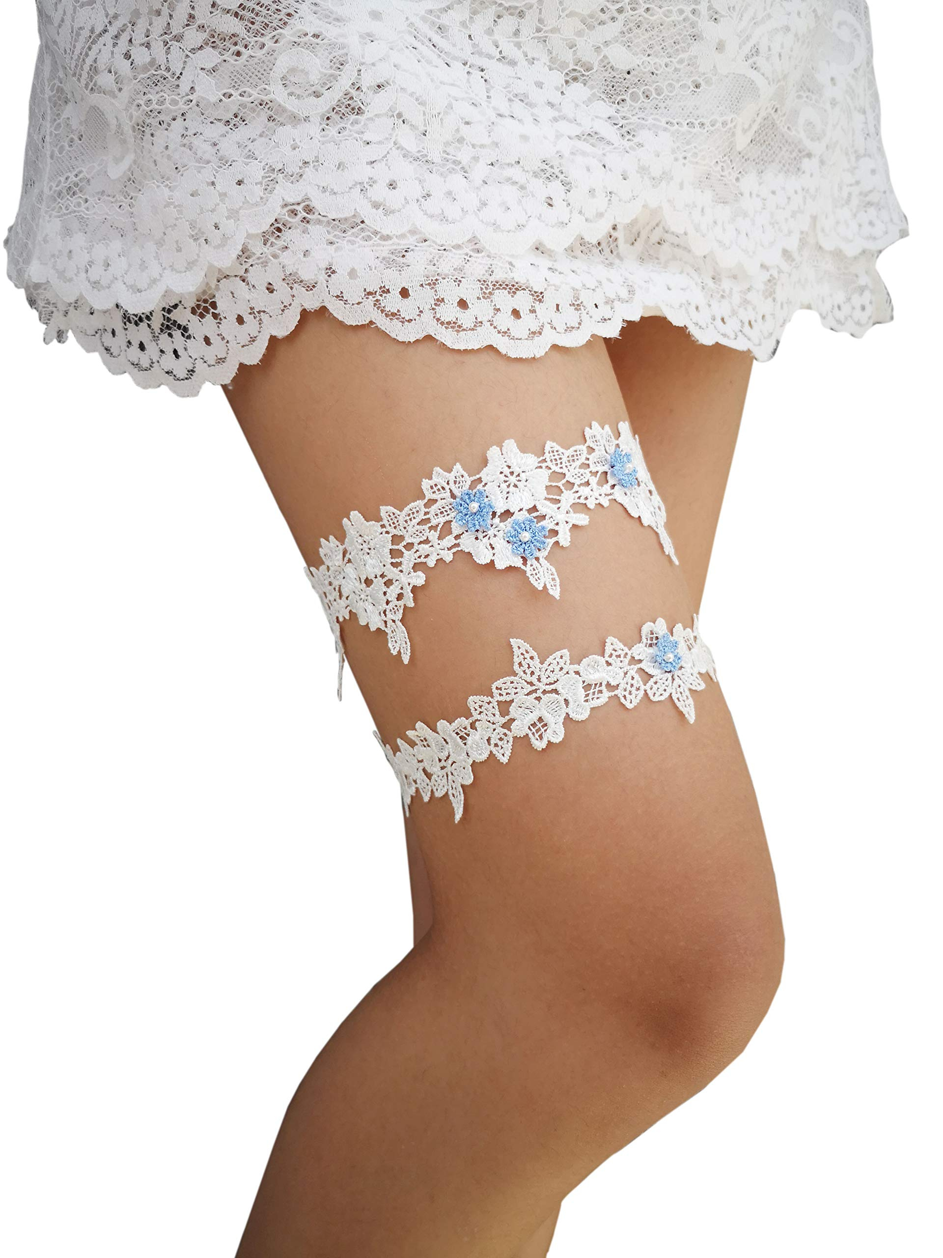 YuRongsxt Wedding Floral Garter Set Beaded Lace Garter Set Bridal Garter G02 …