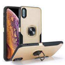 DEFBSC iPhone XR Phone Case with Ring Kickstand,360 Degree Rotating Ring Kickstand Armor Defender Shockproof Protective Case Cover for iPhone XR,Gold