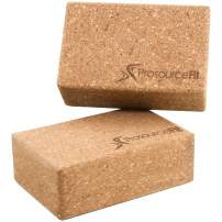 Prosource Fit Natural Cork Yoga Blocks Set of 2 for Support, Balance, and Flexibility