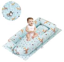 Brandream Baby Nest Bed Woodland, Baby Newborn Lounger,Double-Sided Babynest,Breathable Baby Bassinets for Bed Portable Crib Bed Prefect for Co Sleeping 100% Cotton, Jungle Bear Deer Fox Animal Print