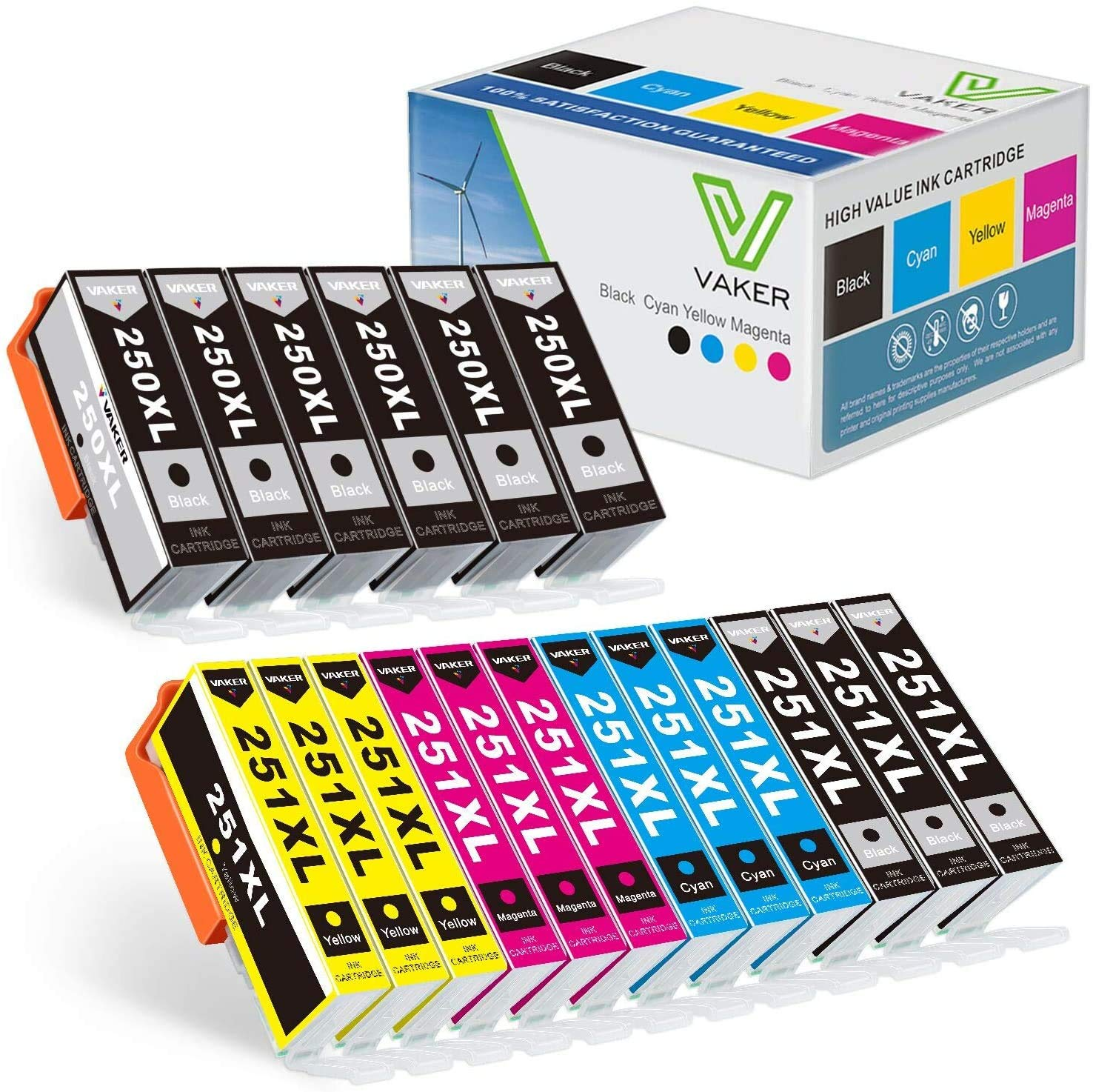 VAKER Compatible 250 251 XL Ink Cartridge Replacement for Canon PGI-250XL CLI-251XL Ink for Canon PIXMA MX922 IX6820 IP7220 MG6620 MG7120 Printer 18-Pack(6 PGBK 3 Black 3 Cyan 3 Magenta 3 Yellow)