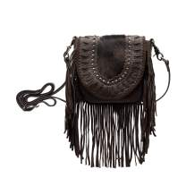 Montana West Real Leather Cow Hide Fringe Shuolder bag Western Crossbody Small Studded Purse For Women