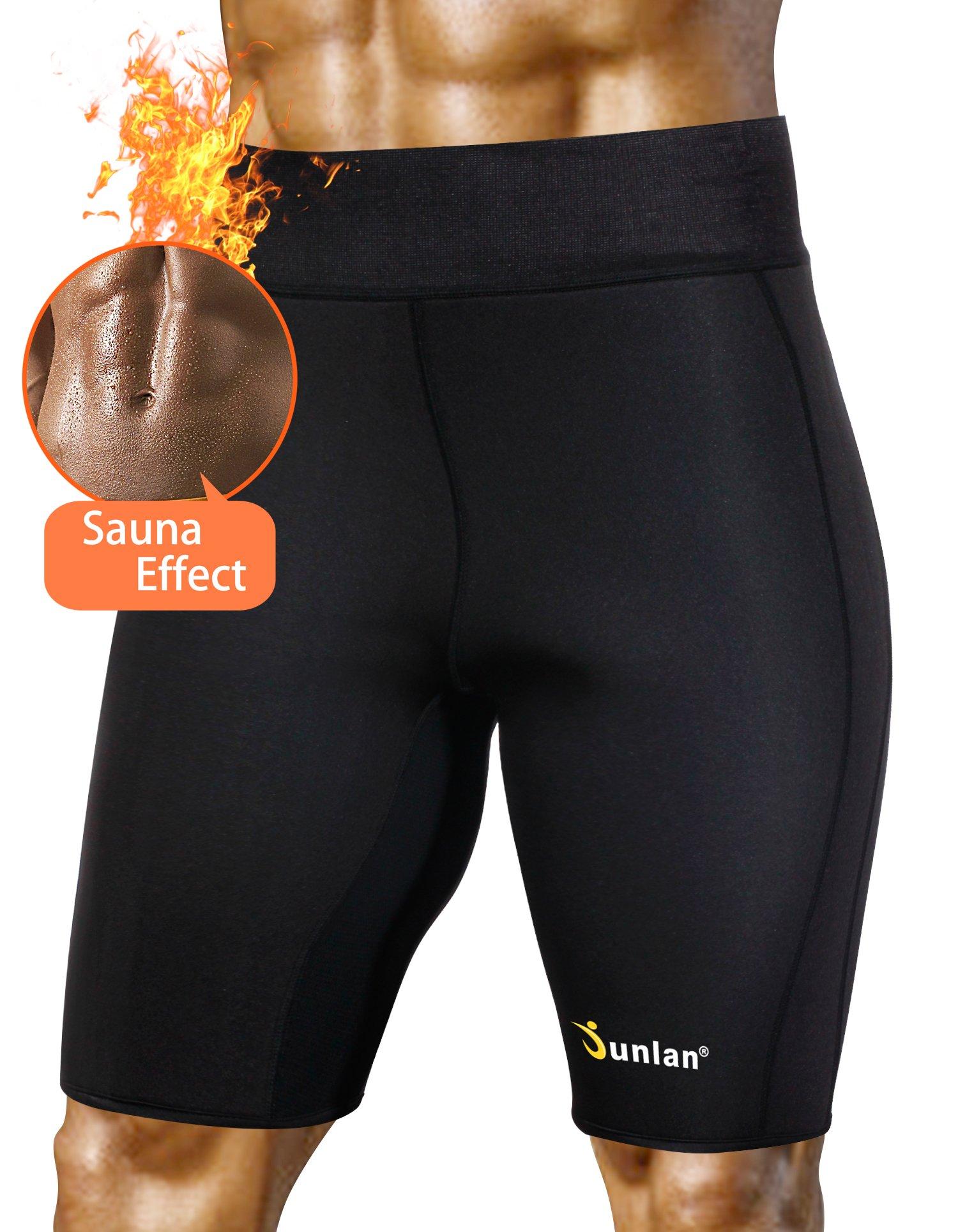 Men's Workout Sauna Hot Sweat Thermo Shorts Body Shaper Neoprene Athletic Yoga Pants Gym Tummy Slimming