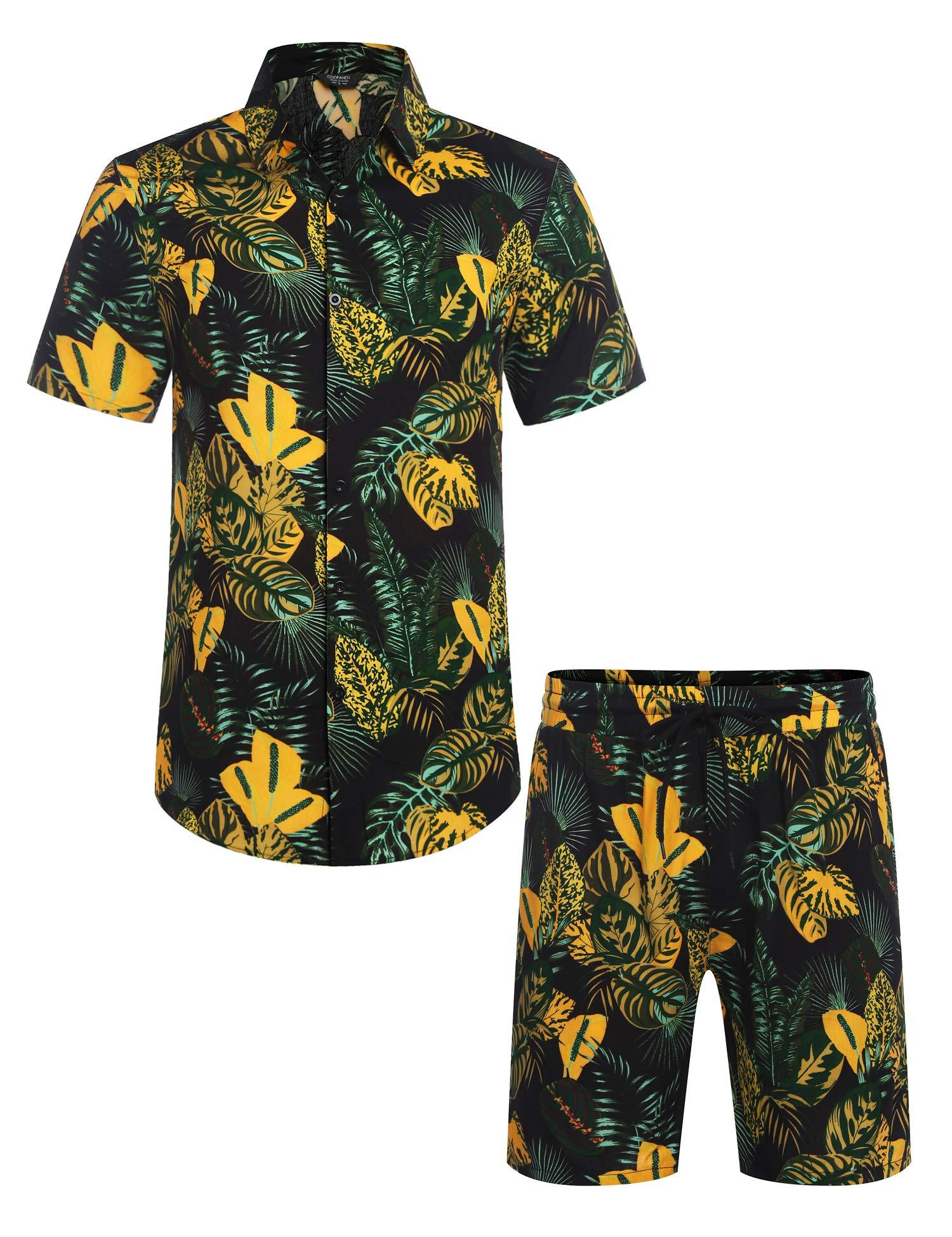 COOFANDY Men's Flower Shirt Hawaiian Sets Casual Button Down Short Sleeve Shirt