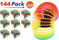 JA-RU Big Spring Rainbow Ring Magic Set (144 Units in 8 Display Boxes) Stress Toy Slinkey Original Toys for Kids Girls and Boys Springs Great Party Favor | Plus 1 Bouncy Ball Item #1702-144p