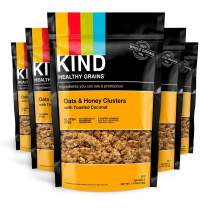 KIND Healthy Grains Clusters, Oats and Honey with Toasted Coconut Granola, Gluten Free, 11 Ounce (Pack of 6)
