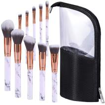 Travel Make-up Brushes Cup Holder Organizer Bag with 10pcs Marble makeup brushes Set, Professional Cosmetic Brushes Kit for Face Foundation Blush Eye-shadow Eyebrow Powder Contour Blending, White