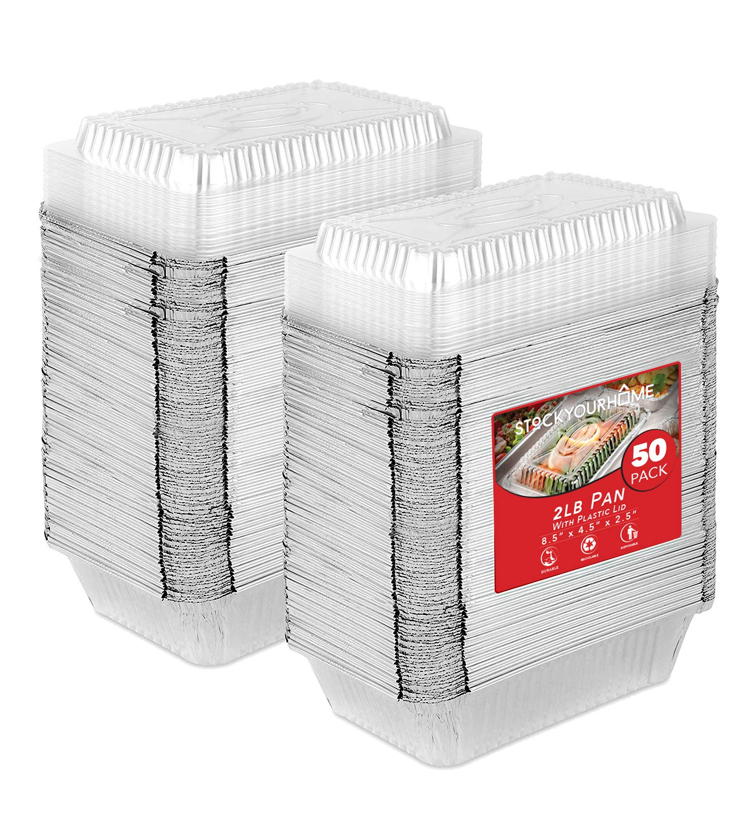 """50 Pack Disposable Takeout Containers with Clear Lids – 2 Lb Capacity Aluminum Foil Leftover Take Home Containers for Food – Secure Lids– Eco Friendly and Recyclable Aluminum Pans – 8"""" Inch Drip Pans"""