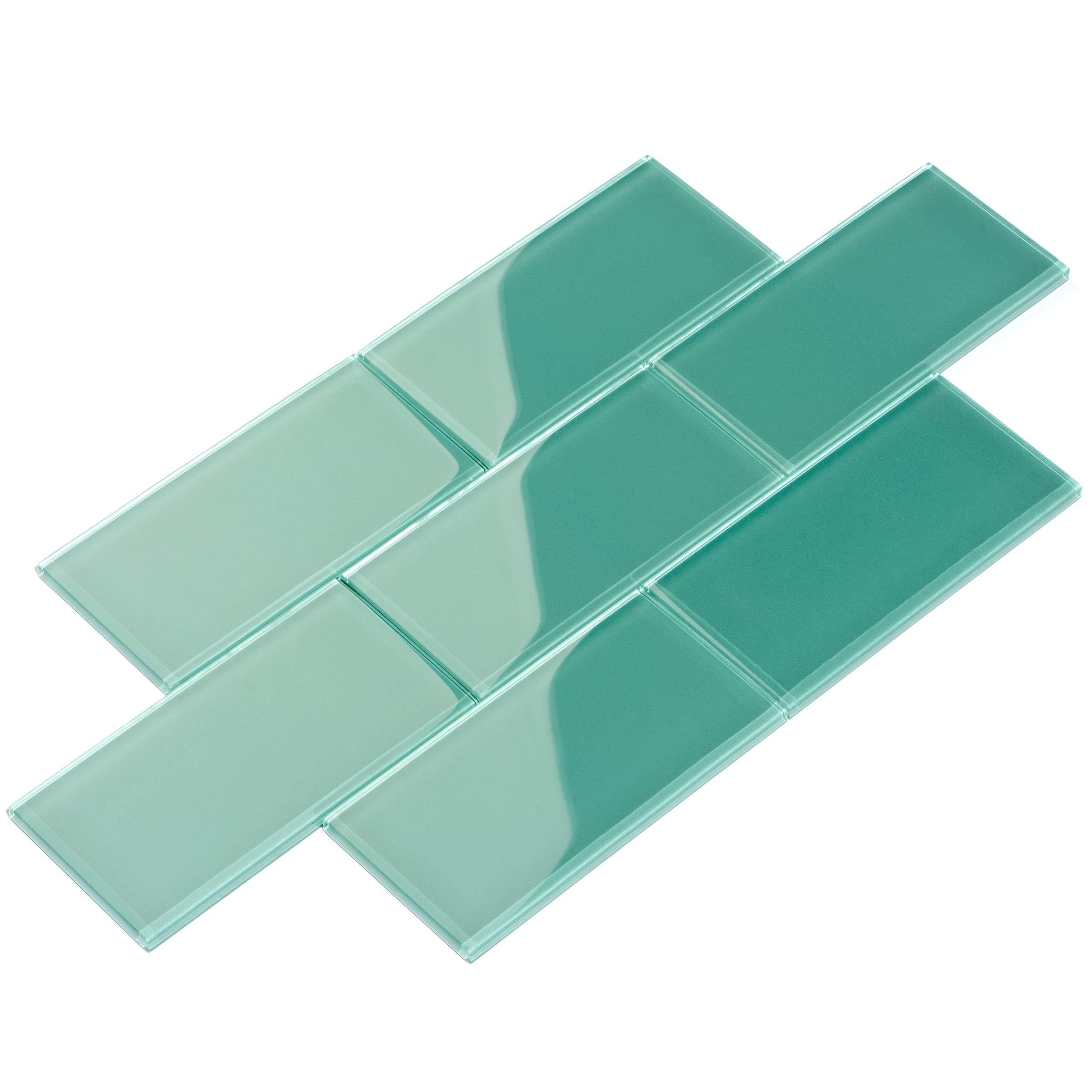 Giorbello Glass Subway Backsplash Tile, 3 x 6, Teal, 2 Sq Ft