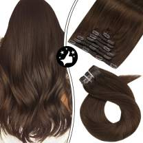 Real Hair Extensions Clip in Human Hair Moresoo 100% Human Hair Clip in Hair Extensions Color #4 Dark Brown Hair Extensions Clip in Human Hair 22 Inch Clip ins Lace Weft Full Head 7PCS 100G