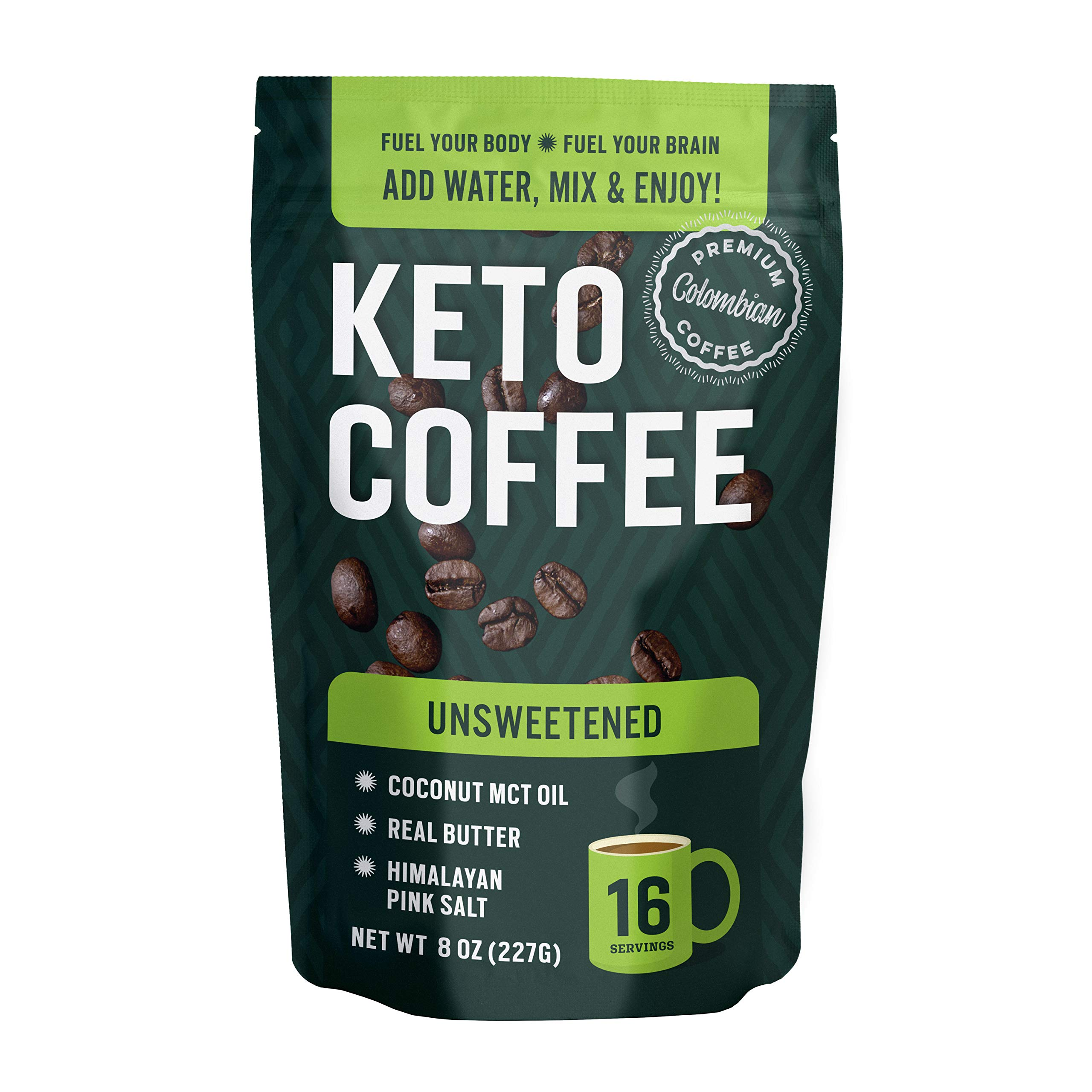 360 Nutrition Instant Keto Coffee - Just Add Water | 8 oz, Unsweetened | 16 Servings per bag | MCT Coconut Oil, Organic Grass-Fed Butter, Himalayan Sea Salt