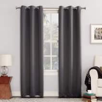 """Sun Zero 48701  Easton Blackout Energy Efficient Grommet Curtain Panel, 40"""" x 95"""", Charcoal Gray"""