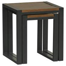 """Amazon Brand – Stone & Beam Industrial Nesting Tables, Set of 2, 19.69""""W and 14.96""""W, Antique Natural and Black"""