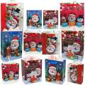 3D Christmas Gift Bags Assorted Size, WEST BAY 12PCS Xmas Craft Pattern Design Gift Bags & 12 Wrapping Tissue Papers for Xmas Holiday Birthday Party Favors (4 Large, 4 Medium, 4 Small)