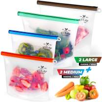 Zulay Reusable Silicone Food Storage Bags - 4-pack Food Grade and Eco-Friendly Preservation Bags - Airtight Seal Silicone Food Bag for Storing Food, Vegetables, Fruits, Liquids, and More.