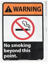 NMC WGA27AB WARNING - No Smoking Beyond This Point Sign - 10 in. x 14 in., Black/White Text on Orange/Black, PS Vinyl Warning Sign with Graphic