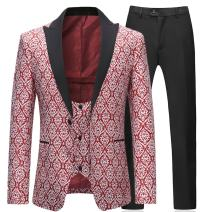 Boyland Mens 3 Piece Tuxedos Slim Fit Floral Vintage Groomsmen Wedding Suit Outfit Jacket