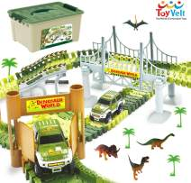 ToyVelt Dinosaur Toys Race Track Toy Set - Create A Dinosaur World Road Race,Flexible Track Playset - Includes 2 Cars and A Container Best Gift for Boys & Girls Ages 3,4,5,6, Years Old and Up