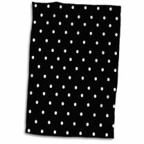 3D Rose Black and White Polka Pattern-Small Dots-Stylish Classic-Classy Elegant Retro Dotty Spotty Hand/Sports Towel, 15 x 22, Multicolor