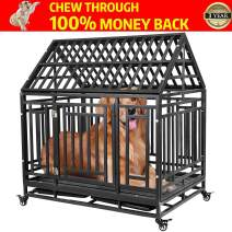 Haige Pet Your Pet Nanny Heavy Duty Dog Crate Cage Kennel Playpen Large Strong Metal for Large Dogs Cats with Two Prevent Escape Lock and Four Lockable Wheels