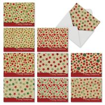 10 Assorted 'Crafty Christmas' Christmas Cards with Envelopes 4 x 5.12 inch, Blank Greeting Cards for Holidays, Gifts, Business, Stationery with Polka Dot and Star Pattern Craft Paper M6664XSB