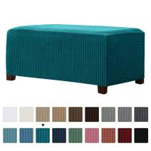 CHUN YI Stretch Ottoman Slipcover Rectangle Storage Stool Cover Furniture Protector with Elastic Bottom, Checks Spandex Jacquard Fabric (Large, Teal)