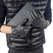 FIORETTO Mens Winter Warm Gloves Touchscreen Driving Leather Gloves Studded Button Wrist