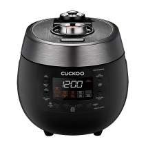 Cuckoo CRP-RT0609FB 6 cup Twin Pressure Plate Rice Cooker & Warmer with High Heat, GABA, Mixed, Scorched, Turbo, Porridge, Baby Food, Steam (Hi/Non Press.) and more, Made in Korea (Black)