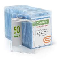 Claev Vertical ID Badge Holders (3.5x2.25 Standard, 50 Pack), Clear Waterproof Plastic Name Card Holders for Conferences, Conventions, Offices & Schools