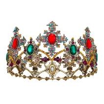 SWEETV Jeweled Baroque Queen Crown, Rhinestone Wedding Crowns and Tiaras for Women, Costume Party Hair Accessories with Gemstones - THEA