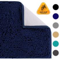 Colorxy Shaggy Chenille Loop Bathroom Rugs - Solid Shag Washable Bath Mat Runner Non Slip, Soft, Plush for Bathroom Shower with Water Absorbent Memory Foam (Navy Blue, 16'' X 47'')